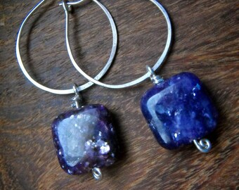 Purple Earrings, Silver Hoop Earrings, Square Earrings