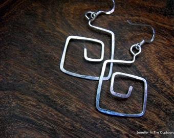 Sterling Silver Earrings, Silver Geometric Earrings, Modern Silver Earrings, Abstract Earrings, Funky Earrings