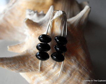 Black Earrings, Black Onyx and Sterling Silver Earrings, Modern Earrings, Modern Black Earrings