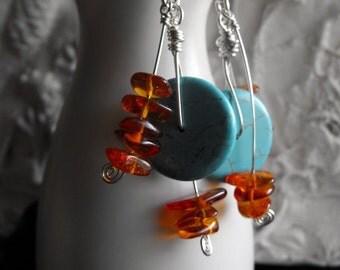 Turquoise Earrings, Funky Turquoise Earrings, Funky Earrings, Chunky Earrings, Earrings Turquoise