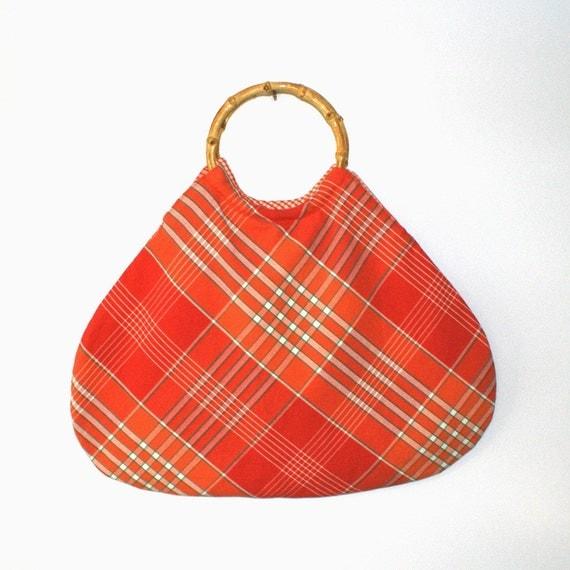 Orange Bamboo Handle Bag