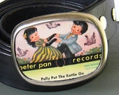Belt Buckle Repurposed from old childrens record features cute kids dancing,  Peter Pan Records(1950s)