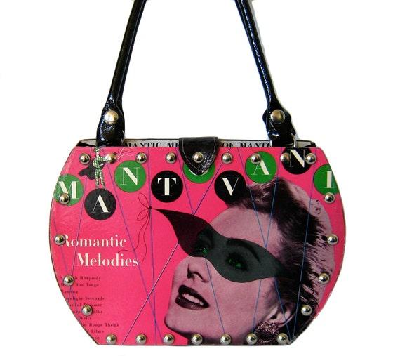 Record Album Purse Handbag, black patent leather, 1954 album, vindicated vinyl on etsy.com