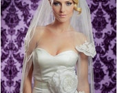 NEW 42 Inch Lovely HALF Lace Wedding Veil with a 30 Inch Blusher