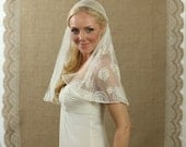 NEW 18 Inch Flowered Lace Bridal Cap