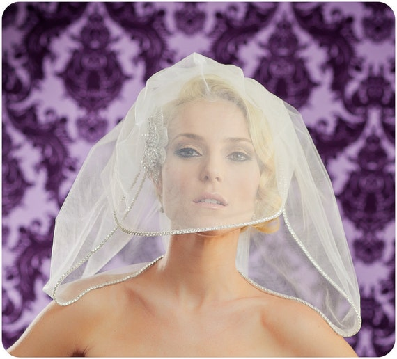 NEW  22 Inch Bubble Bride Wedding Veil with Rhinestones and a 16 Inch Blusher