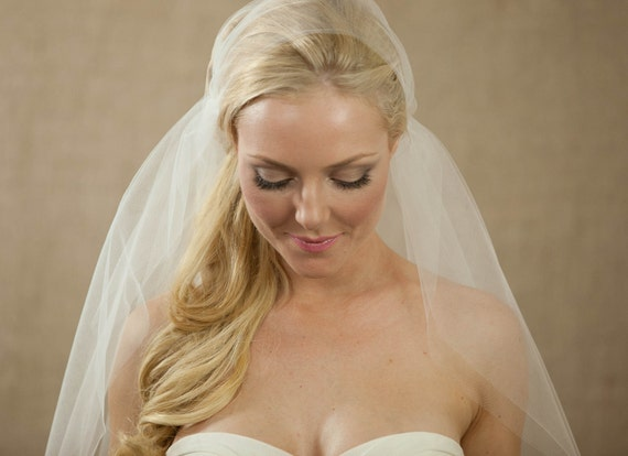 "98"" Bridal Cap Wedding Veil with Swarovski Crystals"