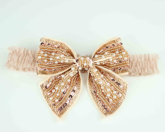 Bridal Garter with Peal and Glass Beaded Bow, Silk Champagne Garter Band, Champagne BOW Garter FREE Shipping plus ON Sale