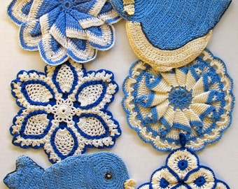 Vintage Blues Potholders Crochet Pattern PDF