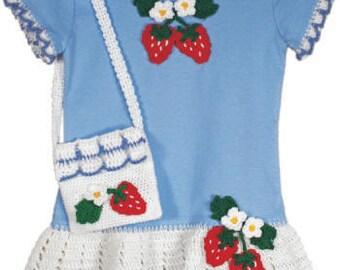Strawberry T-Shirt Dress and Purse Crochet Pattern  PDF