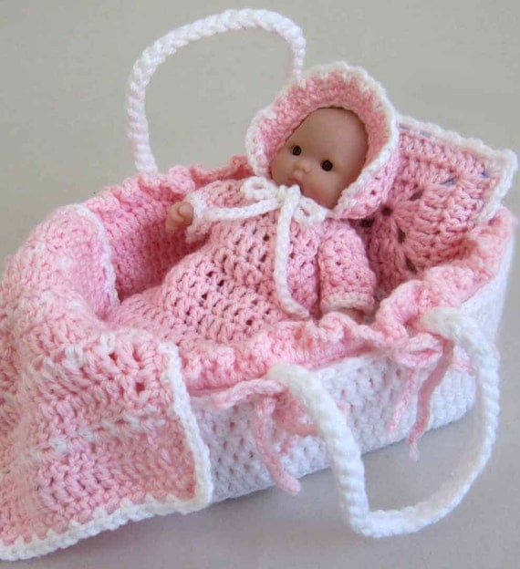 Knitting Pattern For Dolls Moses Basket : Moses Basket Baby Pattern PDF