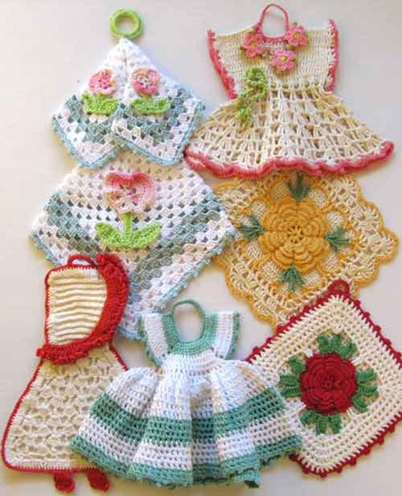 Free Vintage Kitchen Crochet Patterns : Premium Vintage Potholders Crochet Pattern PDF by ...