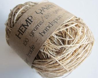 Hemp yarn, handspun, Fair Trade, appx 200 yds., fingering weight
