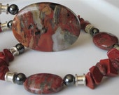 Semi Precious Gemstone Necklace, Flame Jasper Pendant, Feldspar, Multi Gemstone