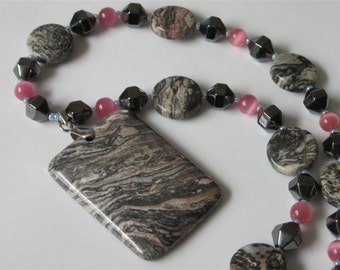 Jasper Pendant Necklace, Leopard Skin Jasper, Long Natural Stone, Charcoal Grey and Pink Gemstone, OAK