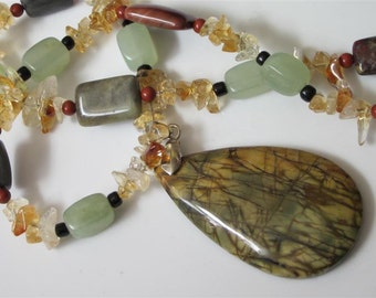 Gemstone Pendant Necklace, Picasso Jasper Pendant, Gemstone Necklace, Green Jade, Agate, Stone Jewelry