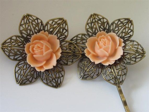 Filigree Bobby Pins, Vintage Inspired Filigree Flower with Peach Rose