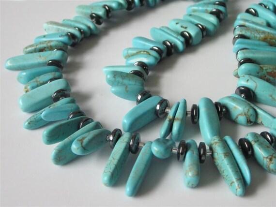 Blue Turquoise Necklace, Southwestern Necklace, Chunky Gemstone Spikes and Hematite, Bib, Tribal Necklace, Spike Necklace, Stone Necklace