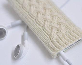 iPod Nano 7G Hand Knit Irish Cable Wool Cozy Case Cover - Irish Aran