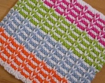 Hand Knit Cotton Dishcloth - This Ain't Your Grandma's Dishcloth
