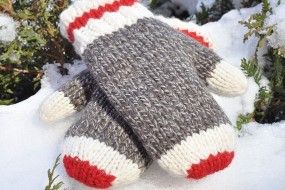 Knitting Pattern For Childs Newfie Mittens : Hand Knit Mittens Original Sock Monkey Design