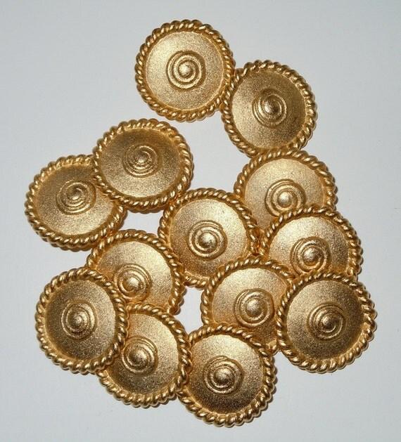 Shank Buttons - Set of 13 - Gold Metal Nautical