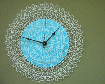 RESERVED Doily Clock - for Rivka