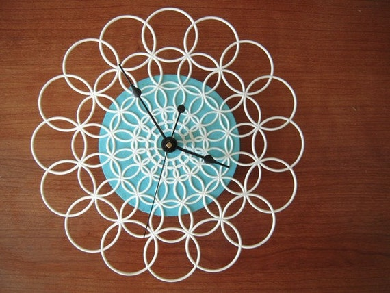 clock - retro, modern doily clock