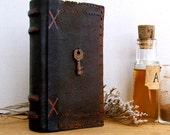 "Vintage Leather Journal with Antique Key - ""Granny's Secret"""