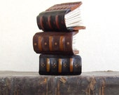Three Tiny Books - Miniature Journals, Vintage Leather, Black, Ocher and Brown