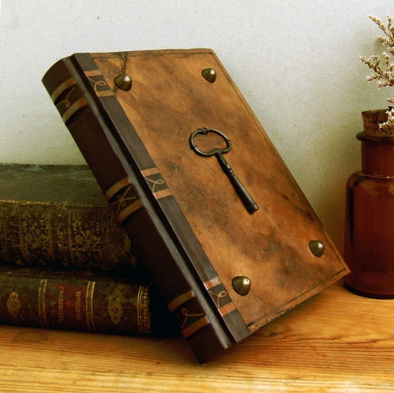 RESERVED. Key Book. Brown Vintage Leather Journal with Antique Key