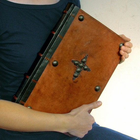 Very Large Leather Journal / Antiqued Blank Book with Cross Symbol - Belief