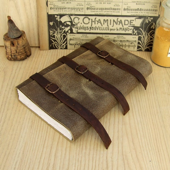Handmade Leather Journal, Antiqued Grey Leather with Brown Belts