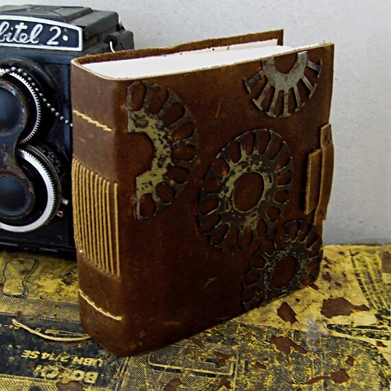 """Steampunk Brown Leather Journal - """"Working on a Dream"""""""