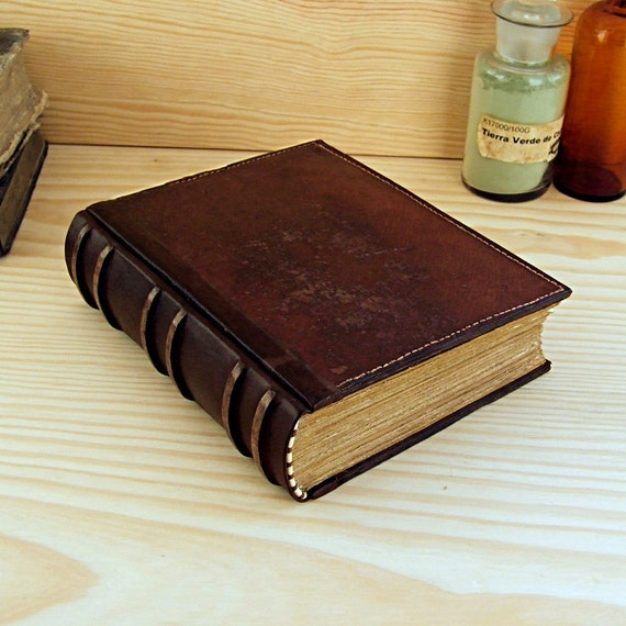 Large Leather Journal / Blank Book Brown Vintage by TeoStudio