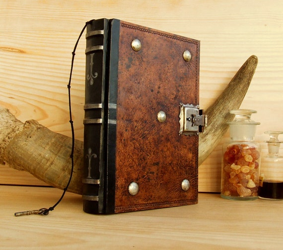 Leather Journal Blank Book With Lock And Key Brown Antiqued
