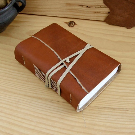 Handmade Leather Journal or Notebook, Burnt Sienna Soft Leather Cover