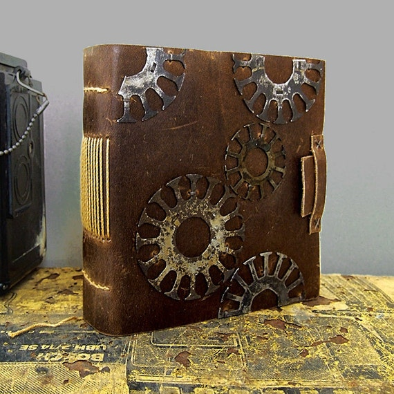 Steampunk Brown Leather Journal. Working on a Dream.