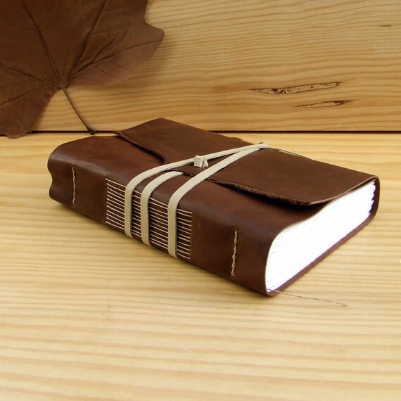 Handmade Leather Journal or Notebook, Brown Antiqued Leather