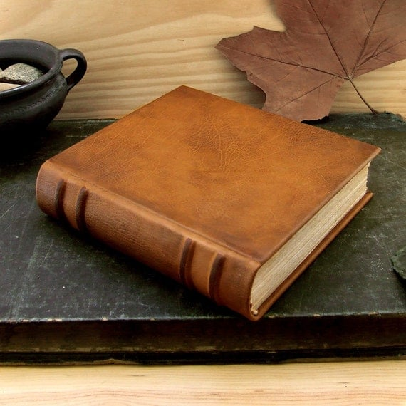 Large Leather Journal / Blank Book Bound in Calfskin - Burnished Brown Leather