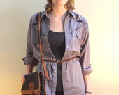 SALE :) Vintage 1970's Gray Embroidered Cowboy Shirt was 26.00 now 18.20