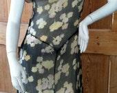 1930s Handmade Silk Black Floral Sheer Ladies Dress with Ruffled Capelet Shawl Collar