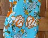 SALE :) Funky Mod Handmade 1960s-70s Bright Turquoise and Orange Floral Housecoat or Dress was 15.00 now 10.50