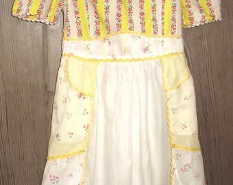 SALE :) Lemon Yellow Spring Flowers Vintage Apron Girl's Dress was 75.00 now 52.50