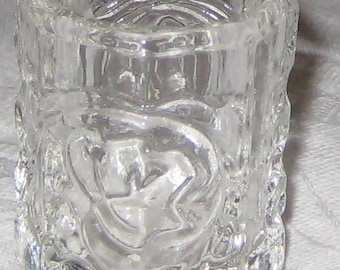SALE :)  Vintage EAPG Clear Glass Toothpick Holder Grapes Leaves Pattern Coronet Beveled Base PRETTY was 7.99 now 5.59