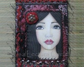 Original Imagine Portrait Art Quilt by Lisa Lectura RESERVED for atisha2