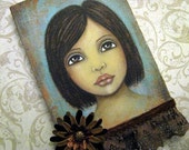 Original Mixed Media Portrait Painting by Lisa Lectura RESERVED for atisha2