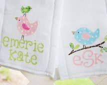 set of 2 personalized burpcloths, with whimsical pink and green birds