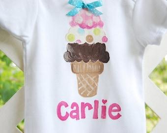 Personalized ice cream cone bodysuit or toddler shirt for ice cream social, ice cream sundae birthday, ice cream shirt for ice cream party