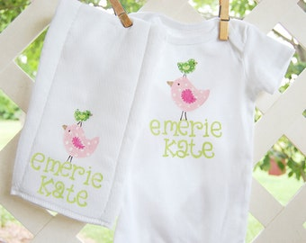 personalized bodysuit with matching burpcloth...whimsical pink and green birds